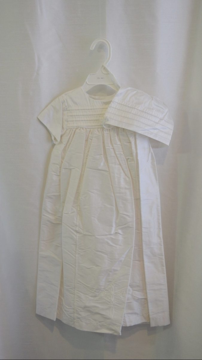 Girls 12 M. Silk Baptismal Outfit w/ Matching Bonnet