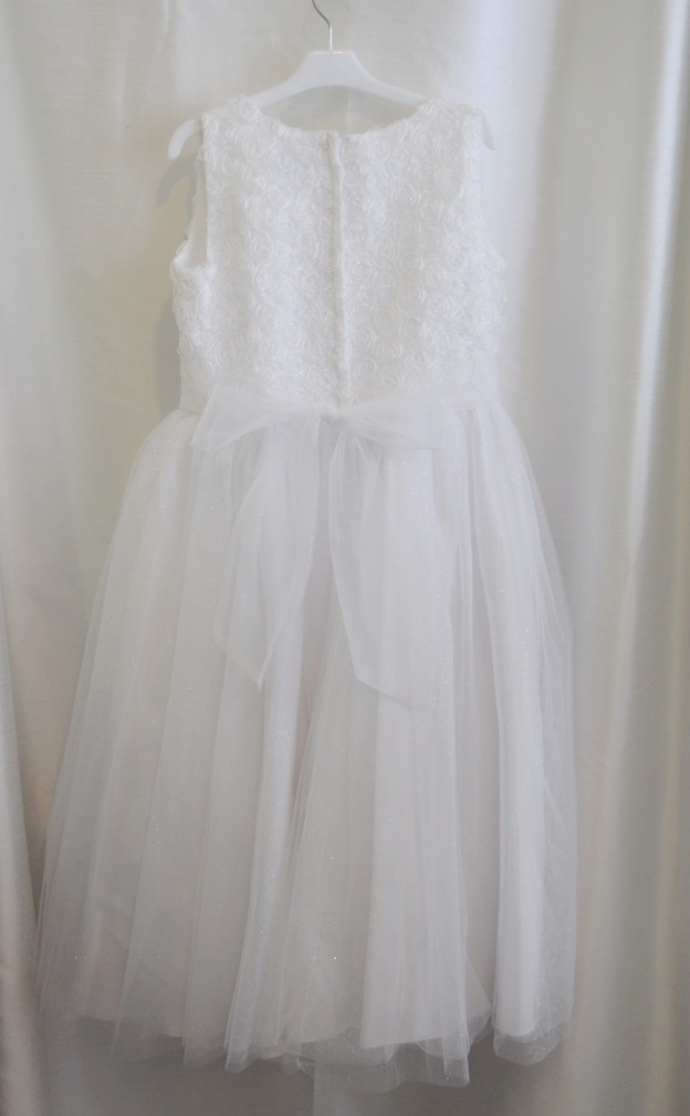 Girls White Rosette & Pearl Communion Gown