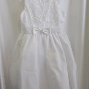 Girls White Communion Dress w/ Bow
