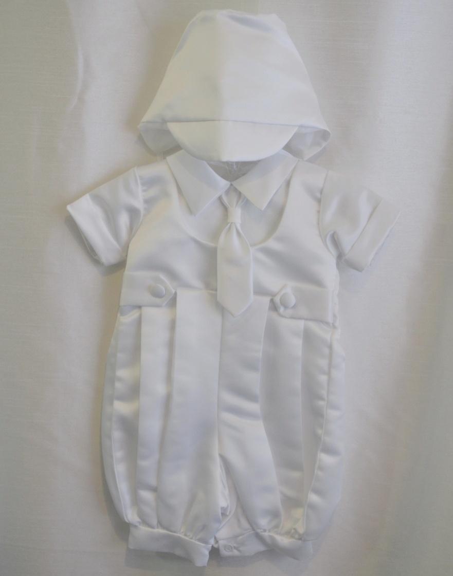 Boys 3-6 M. Baptismal Suit-Jumper w/ Matching Bonnet