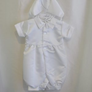 Boys 3-6 M. Baptismal Suit-Jumper w/ Matching Bonnet