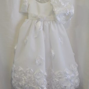 Girls 3-6 M. Rosette Christening Dress w/ Matching Bonnet