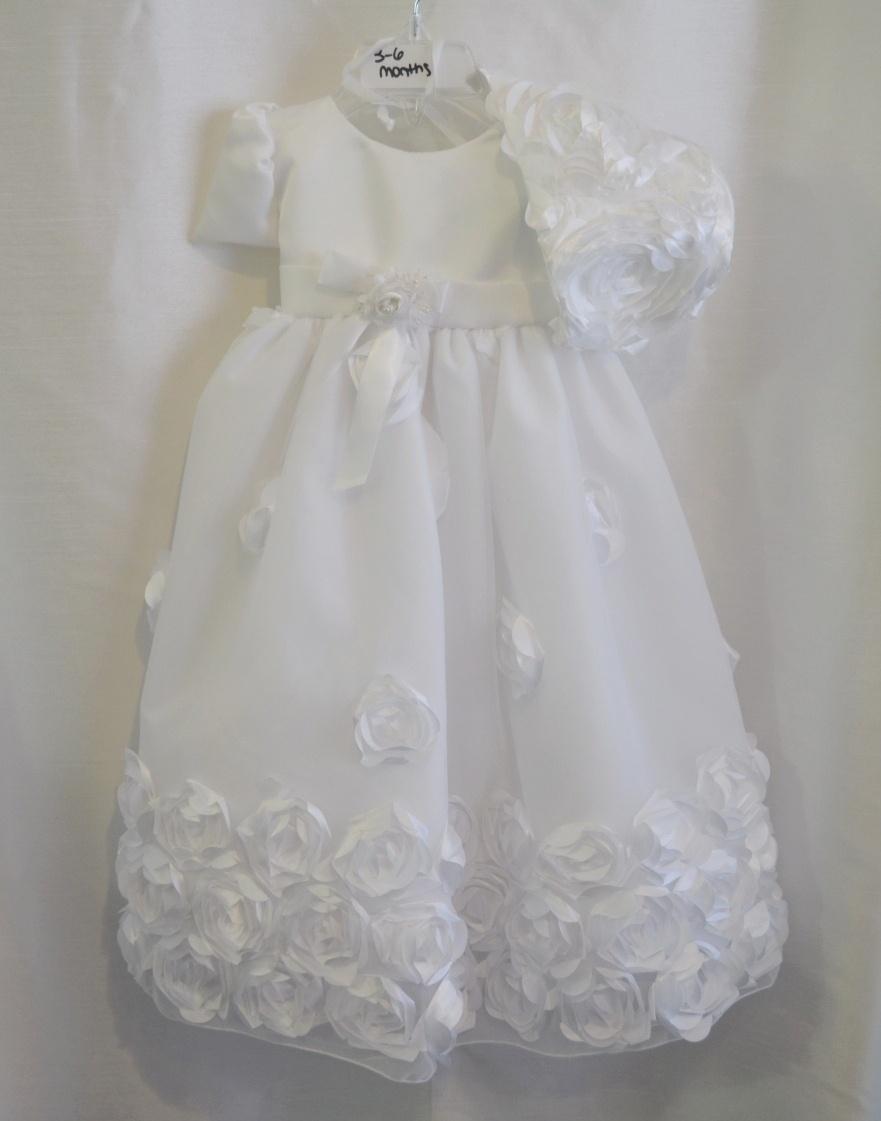 Girls 3-6 M. Rosette Christening Dress w/ Matching Bonnet