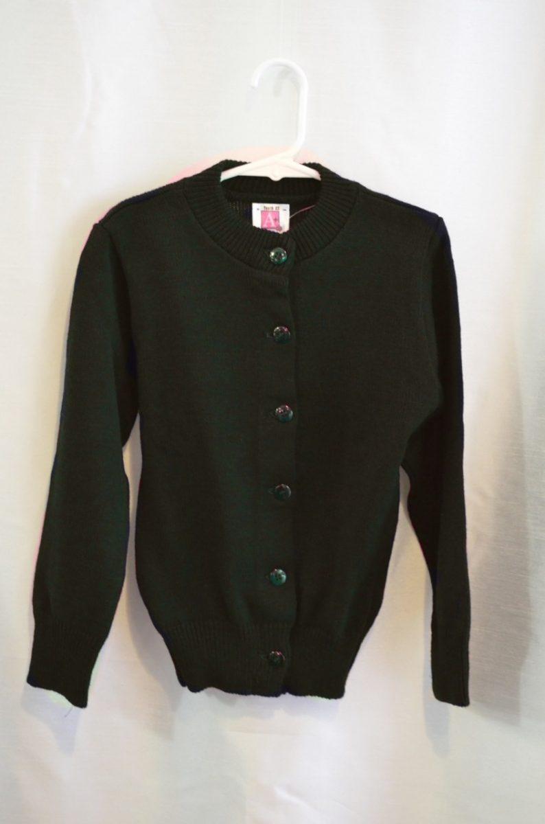 Plain Green Girls Crew Neck Button Down Sweater
