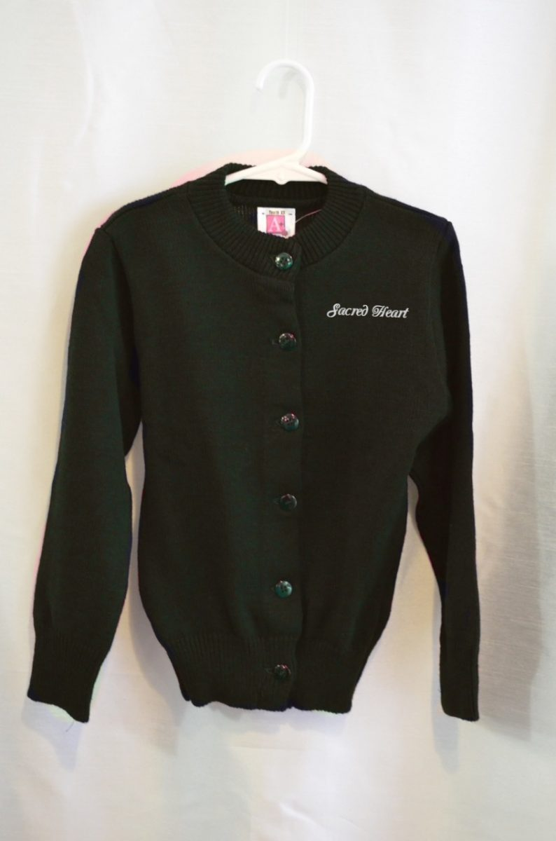 Sacred Heart Navy or Green Girls Crew Neck Button Down Sweater
