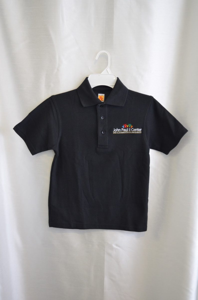 John Paul II Black Short Sleeve Polo Shirt