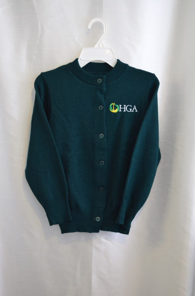 Holy Guardigan Angel Girls Green Crew Neck Button Down Sweater