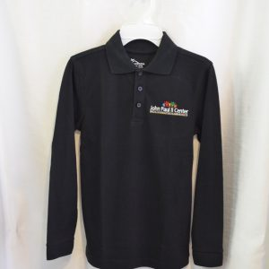 John Paul II Black Long Sleeve Polo Shirt