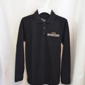 John Paul II Black Long Sleeve Polo Shirt