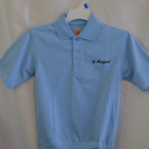 St. Margaret Lt Blue Banded Bottom Polo Shirt