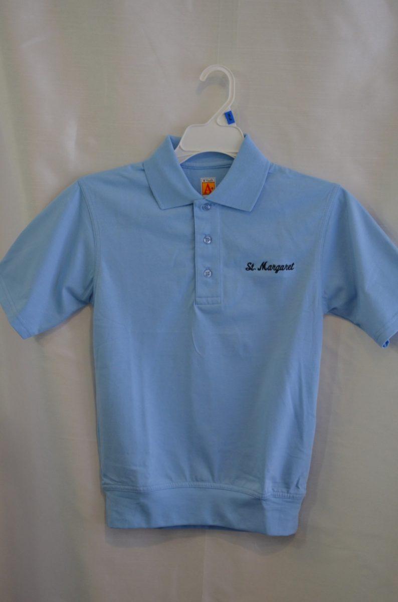 St. Margaret Lt Blue Banded Bottom Polo Shirt