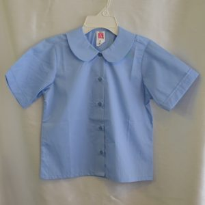 Girls Blue Short Sleeve Rounded Collar Blouse