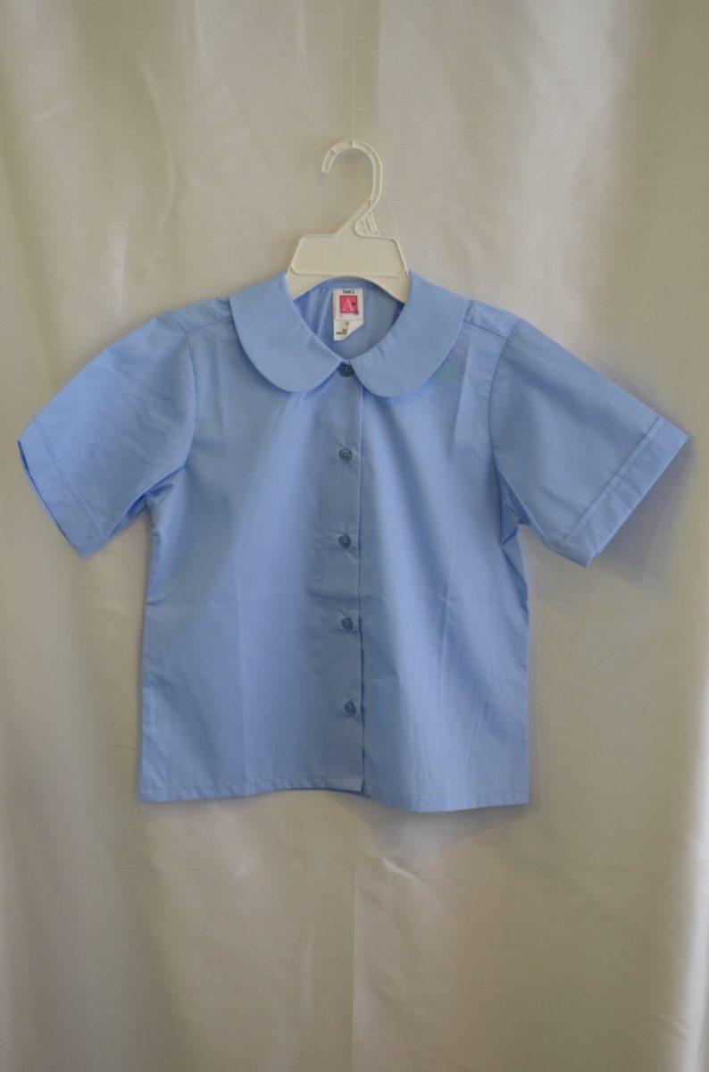 Girls Blue Short Sleeve Rounded Collar Blouse