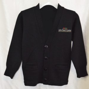 John Paul II Black V Neck Button Down Cardigan Sweater