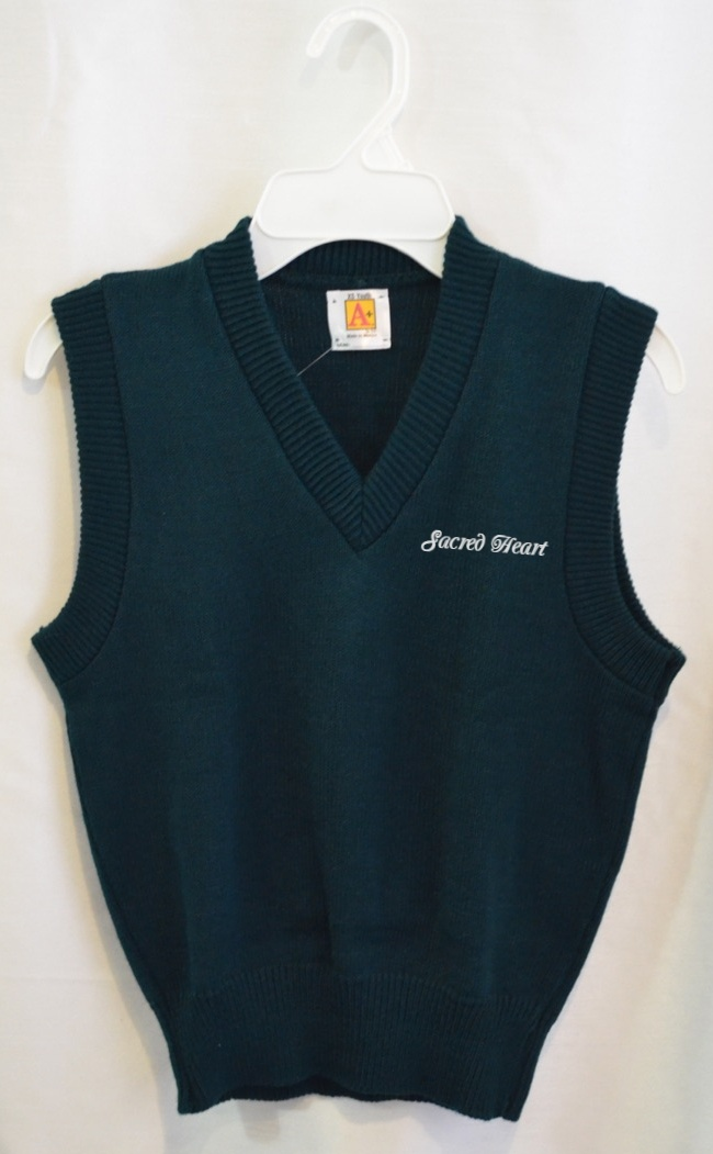 Sacred Heart Green or Navy Sweater Vest