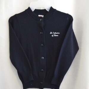 St Catharine Girls Navy Crew Neck Button Down Sweater