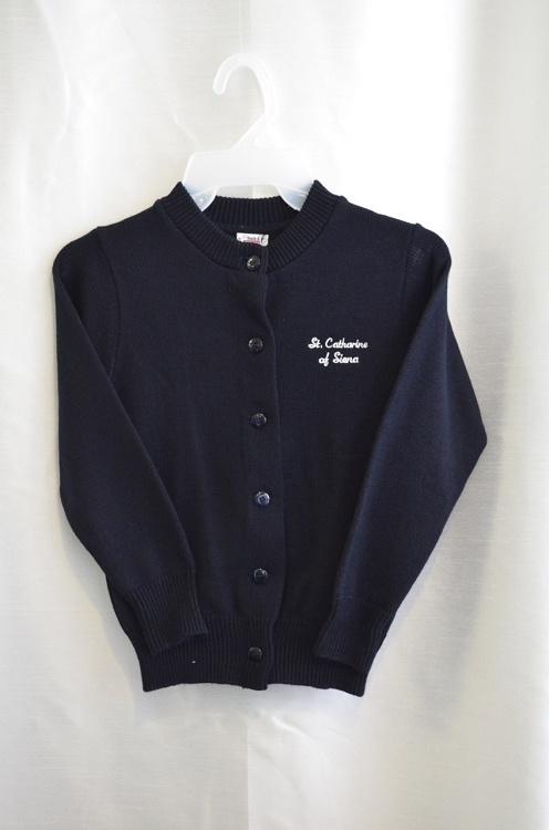 St Catharine Girls Navy Crew Neck Button Down Sweater