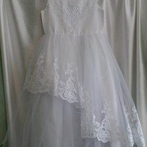 Girls White Lace and Sequenced Communion Dress w/ Corset Back