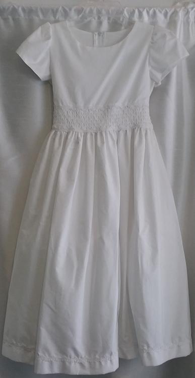 Plain White Communion Dress w/ Tie Back