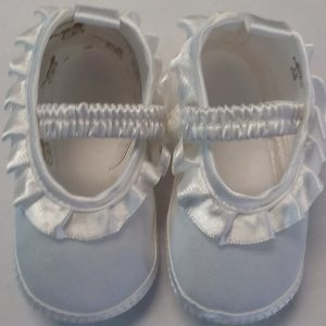 Girls White Baptism Shoe w/ Elastic Top