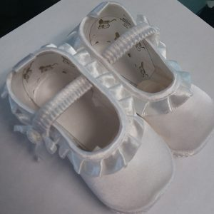 Girls White Baptism Show w/ Elastic Top and Design On Side