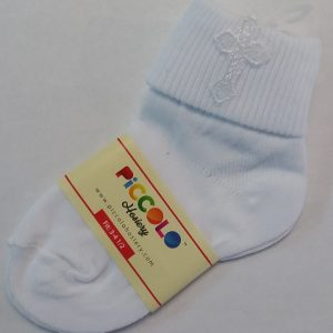 Unisex White Baptism Socks w/ Cross