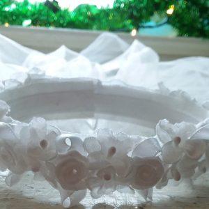 Communion Veil with Round Flower Head Piece