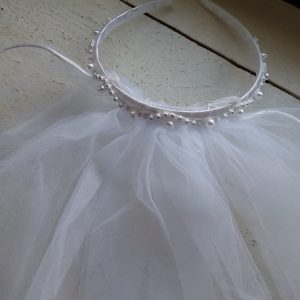 White Communion Veil Pearl/Rhinestone Head Piece