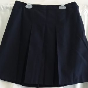 Dark Navy Plain Boxed Pleat Skirt