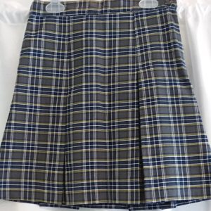 Grey, Yellow, and Blue Boxed Pleat Skirt