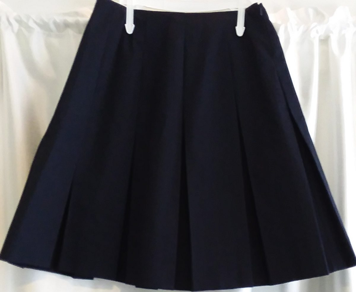 Dark Navy Boxed Pleat Skirt