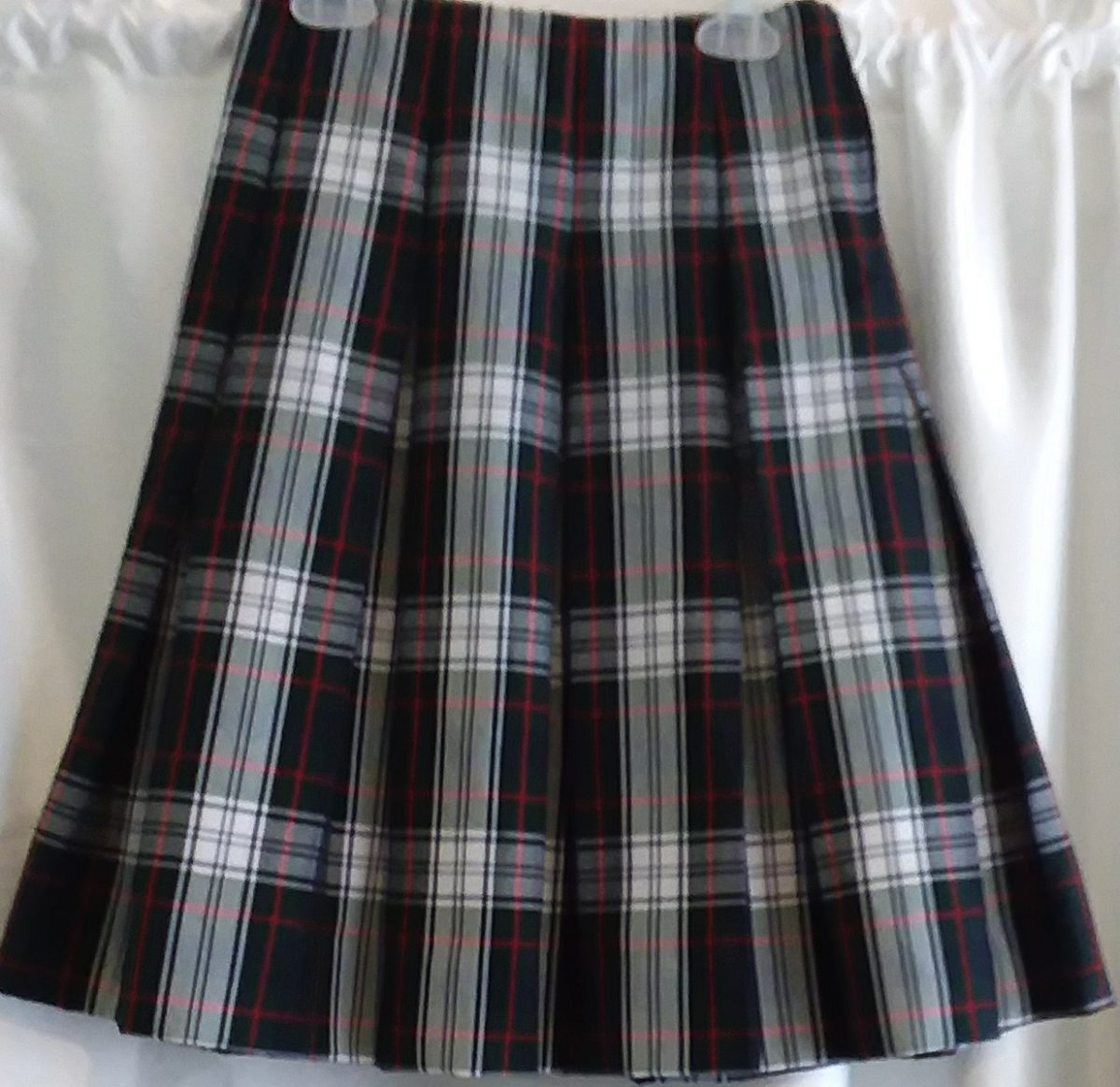 Green, Red, and White Plaid Skirt