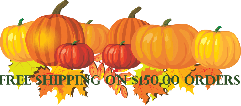 pumpkins and leaves and free shipping on $150 orders