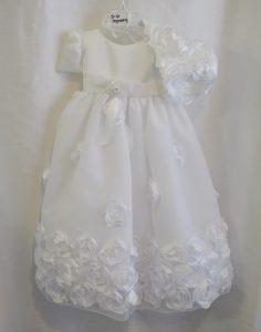 rose-themed christening dress